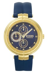 Versus By Versace Bellville Leather Strap Watch 38Mm Blue Gold