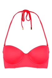 Topshop Braided Long Line Bikini Top Red