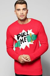 Boohoo Me Christmas Jumper Red
