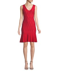 Herve Leger Sleeveless Lightweight Tonal Jacquard Cocktail Dress W Mesh Red