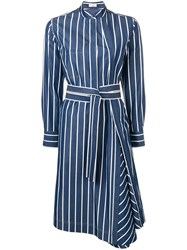 Brunello Cucinelli Striped Shirt Dress Blue