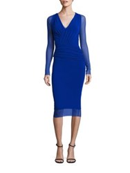 Fuzzi Long Sleeve Bust Ruched Bodycon Dress Bluette