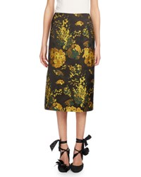 Dries Van Noten Scranton Jacquard Pencil Skirt Yellow