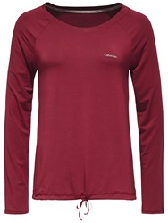 Calvin Klein Drawstring Long Sleeve Pyjama Top Burgundy