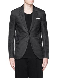 Neil Barrett Camouflage Jacquard Slim Fit Wool Blazer Grey