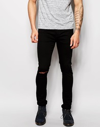 New Look Skinny Jeans With Slashed Knee Black