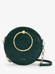Ted Baker Astorii Leather Croc Print Circular Cross Body Bag Dark Green