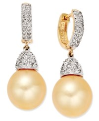 Macy's Cultured Golden South Sea Pearl 11Mm And Diamond 3 4 Ct. T.W. Drop Earrings In 14K Gold Yellow