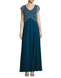 J Kara V Neck Embellished Gown Teal Silver