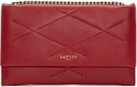Lanvin Red Quilted Chain Sugar Clutch
