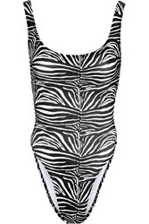 Norma Kamali William Zebra Print Swimsuit Animal Print
