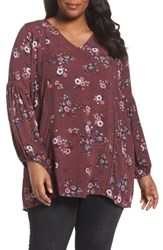 Sejour Plus Size Women's Floral Bell Sleeve Tunic Burgundy Floral