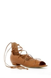 Seychelles Enamour Open Toe Ghillie Flat Brown