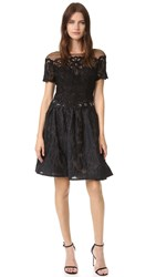 Marchesa Brocade Cocktail Dress Black