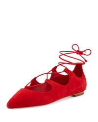 Loeffler Randall Ambra Suede Lace Up Ballerina Flat Poppy