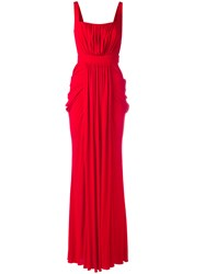 Alexander Mcqueen Draped Gown Red