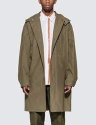 Helmut Lang Detachable Hood Raincoat Green