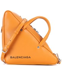 Balenciaga Triangle Duffle Leather Tote Orange