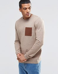 Asos Cotton Jumper With Contrast Pocket Mustard Twist Brown