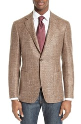 Canali Men's Big And Tall Kei Classic Fit Unconstructed Wool Blend Blazer Brown