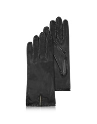 Forzieri Women's Stitched Cashmere Lined Black Italian Leather Gloves