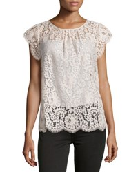 Joie Channelle Bow Back Lace Top Blush