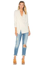 Heather French Terry Shoulder Zip Jacket Ivory