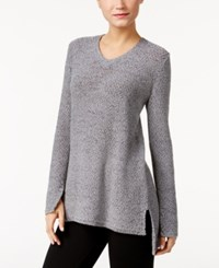 Styleandco. Style Co. V Neck High Low Sweater Only At Macy's Bold Grey Heather Combo