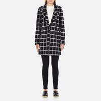 Maison Scotch Women's Bonded Wool Coat In Checks And Solids Multi