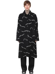 Undercover Printed Wool And Cashmere Coat Black