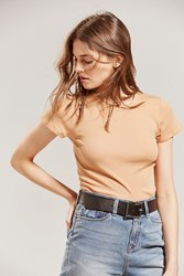 Urban Outfitters Uo Short Sleeve Ribbed Knit Baby Tee Honey