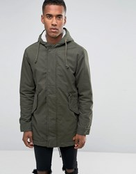 Jack And Jones Hooded Parka With Borg Lining Khaki Green