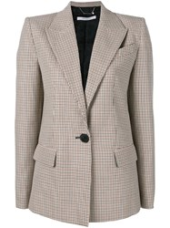 Givenchy Checked Single Breasted Jacket Brown