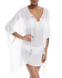 Flora Bella Stellaris Split Neck Long Sleeve Linen Caftan Coverup White