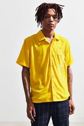 Urban Outfitters Uo Velvet Short Sleeve Button Down Shirt Yellow