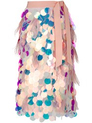 Marco Bologna Flared Embellished Skirt Pink And Purple