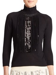 Just Cavalli Sequined Knit Turtleneck Sweater Black