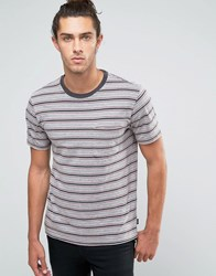 Brixton Hilt Striped Pocket T Shirt Grey
