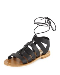 Neiman Marcus Made In Italy Amorie Leather Lace Up Sandal Black