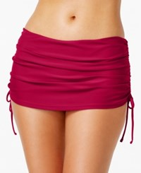 Island Escape Ruched Swim Skirt Created For Macy's Women's Swimsuit Burgundy