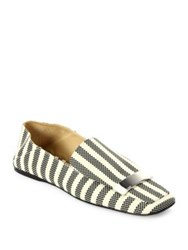 Sergio Rossi Sr1 Portofino Striped Jacquard Slippers Black Multi