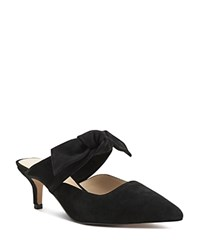 Botkier Pina Bow Accented Suede Kitten Heel Mules Black