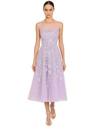 Zuhair Murad Lace And Tulle Midi Dress Lilac