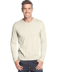 John Ashford Big And Tall Solid Long Sleeve V Neck Sweater Ivory Cloud