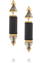 Gemma Redux Gold Plated Onyx And Resin Earrings Metallic