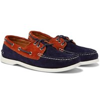 Quoddy Downeast Two Tone Suede Boat Shoes Navy