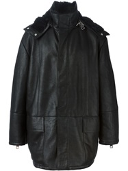 Les Hommes Shearling Hooded Coat Black