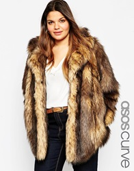 Asos Curve Vintage Faux Fur Coat Brown