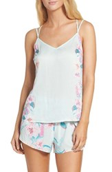 Nordstrom Women's Lingerie Sweet Dreams Camisole Green Veil Exotic Bloom Print