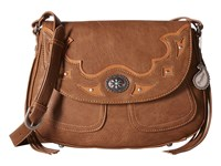 American West Lexington Flap Crossbody Tan Golden Tan Cross Body Handbags Brown